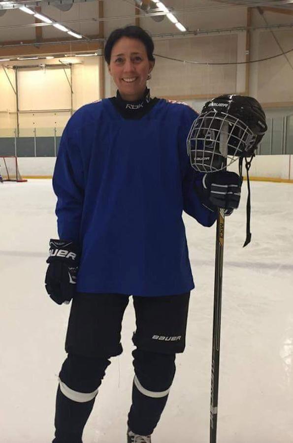 Gabrielle Moritz efter ett ishockeypass på 60 minuter.