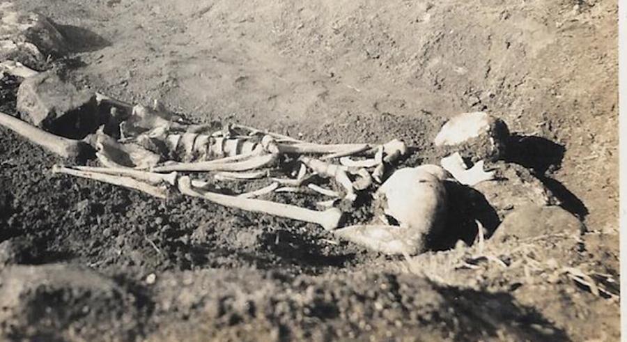 Mystiskt skelett hittades i åkern.
