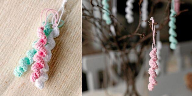 Påskpyssel: Virka söta skruvade hängen till påskriset
