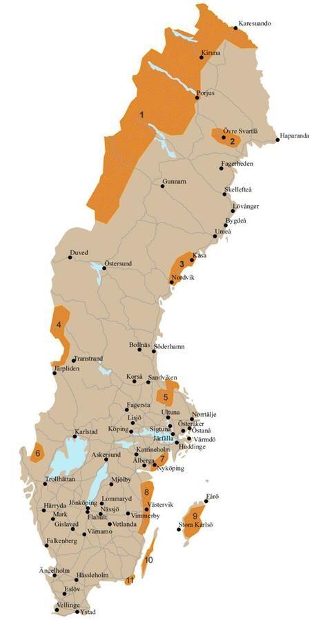 De markerade orterna visar vart i landet SMHI söker nya väderobservatörer. Foto: SMHI.
