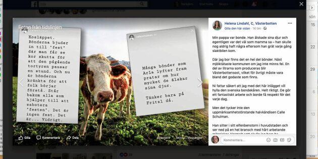 Lindahl rasar mot Schulmans utspel om kosläpp