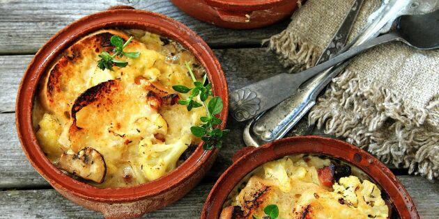 Gratinerad blomkålssoppa med svamp och fläsk - höstens härliga smakfest!