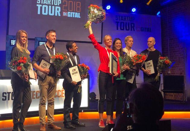 Felicia Bindekrans från Skira firar att hennes bolag vann deltävlingen i Di Digital Startup Tour i Linköping. Foto: Privat