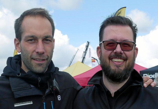 Ted Johansson och Håkan Roupé är mycket nöjda både med antalet besökare och antalet lastbilar på årets upplaga av Skånes Truckshow.