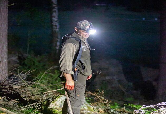 Labradoren Herman och spetskorsningen Troja behövde inte leta länge efter det skjutna vildsvinet.