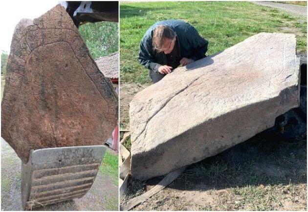 """Till vänster runstenen på skopan till Lennart Larssons grävmaskin. Till höger studerar runolog Magnus Källström, Riksantikvarieämbetet stenen han beskrivit som """"årets fynd eller bättre än så""""."""