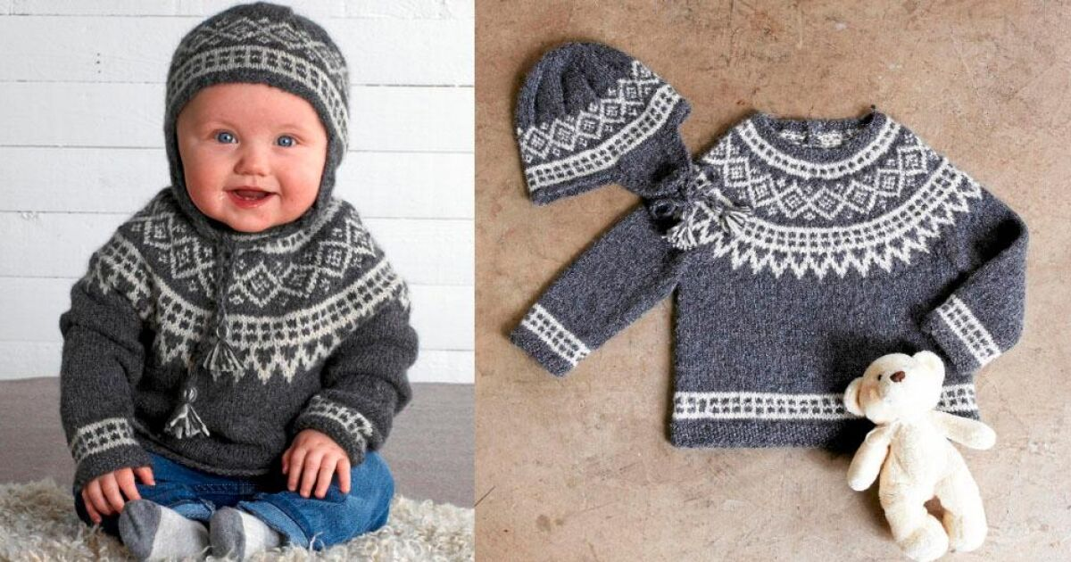 Sticka en klassisk tröja och mössa med ok till babyn   Land