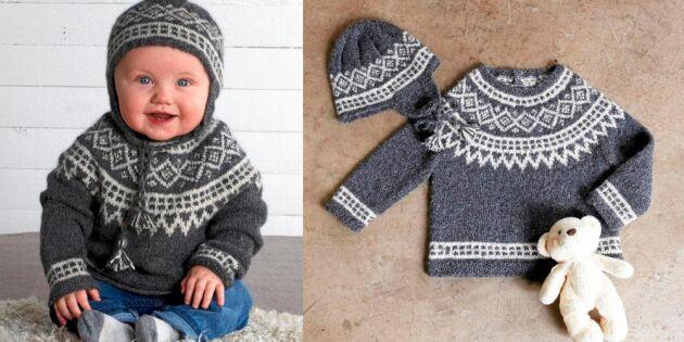 Sticka en klassisk tröja och mössa med ok till babyn