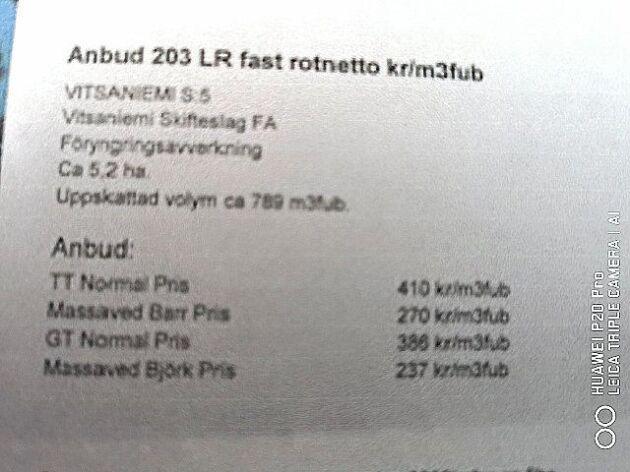 ...och Billerud Korsnäs: 621 kronor respektive 386 kronor per kubikmeter.