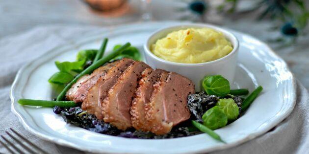 Ankbröst med svartkål och gratinerad potatis