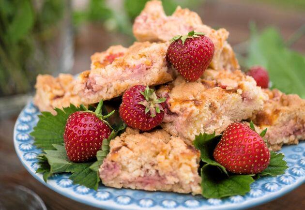 Skär upp kakan i bitar och lägg på ett fint fat för bästa effekt.