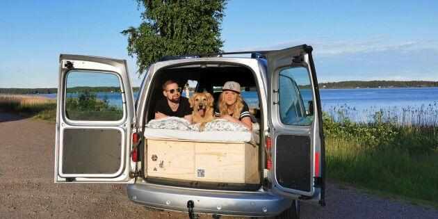 De byggde om skåpbilen till en husbil – för 10 000 kronor
