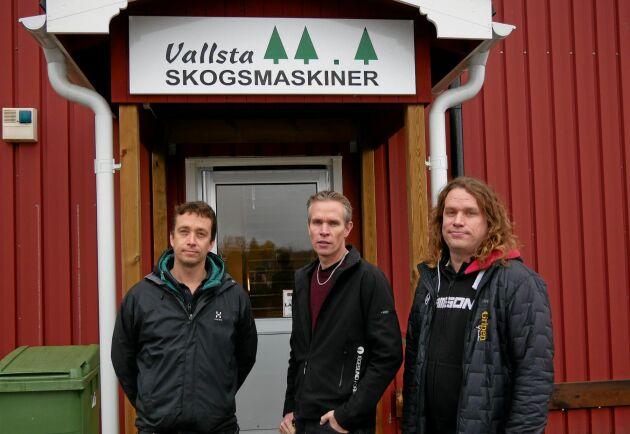 Markus Mörk, Tomas Kolmodin och Daniel Mörk driver Vallsta Skogsmaskiner.