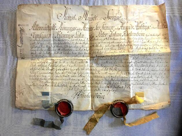 Köpebrev från 1795 för gården i Äskemo i Gammalstorps socken Listers härad i Blekinge Söjn (socken) mellan far och son.