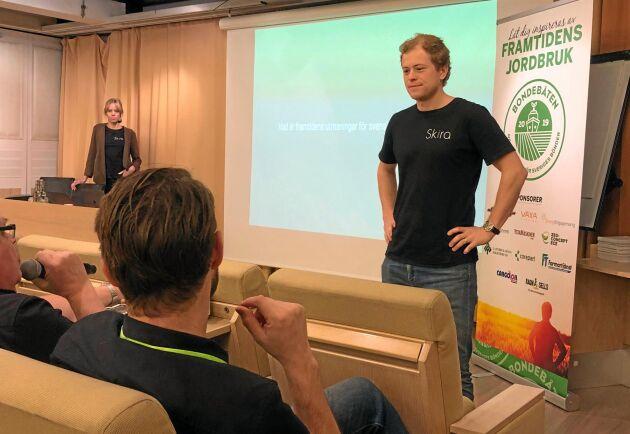 Joel Glemne från Skira involverade publiken av lantbrukare i sin föreläsning på Bondebåten 2019.