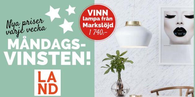 Måndagsvinsten: Tävla om fantastisk lampa från Markslöjd
