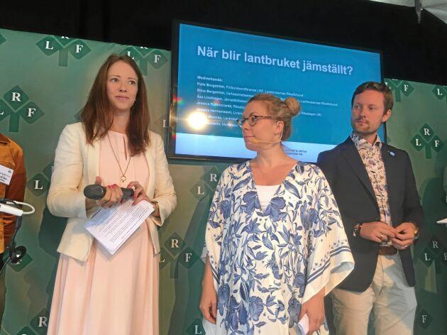 Jämställdhetsminister Åsa Lindhagen, Jessica Rosencrantz, miljö- och klimatpolitisk talesperson för Moderaterna och Simon Wancke, vice ordföranden för LRF Ungdomen på scenen under LRF:s seminarium i Almedalen.