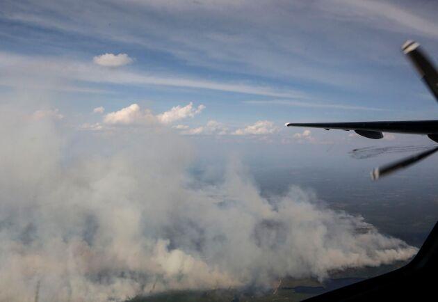 En skogsbrand fotograferad i juli 2018. Arkivbild.