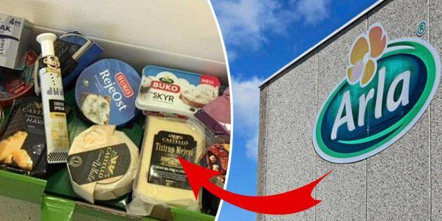 Arlas julklapp till nedläggningsdrabbade i Boxholm –en låda dansk ost