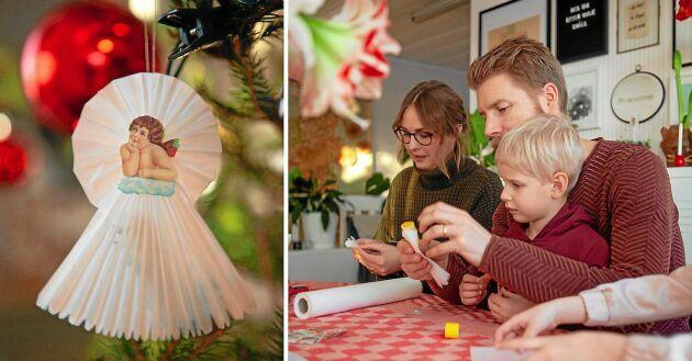 Familjen Sundin i västerbottniska Åsliden viker julängel i papper.