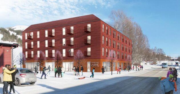"""I Duved har Årehus byggt projektet """"Trägården"""", ett bostadshus i trä."""