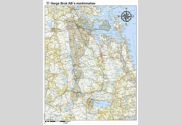 I princip hela Hargs Bruk skogsinnehav på knappt 20 000 hektar är påverkat av stormen. Även om det inte blåste ner så mycket stora sammanhängande arealer är det många bestånd som måste rensas före sommaren. Karta från Lantmäteriet.