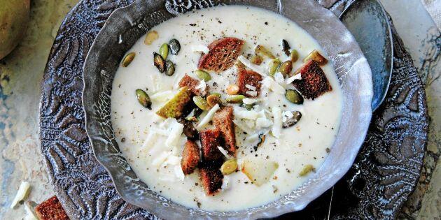 Krämig jordärtskockssoppa med krutonger