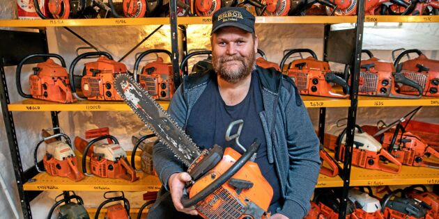 Samlaren Magnus har 800 motorsågar hemma