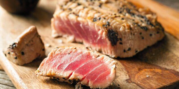 Grillad tonfisk med saffransbulgur