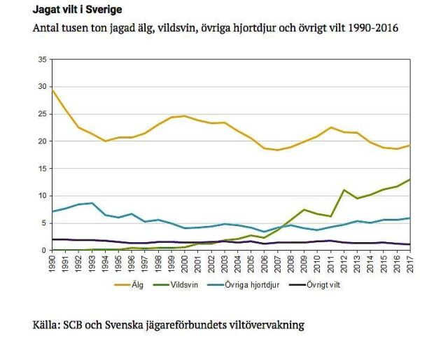 Vildsvinsjakten har ökat markant de senaste 10 åren, medan jakten på älg stannat av.