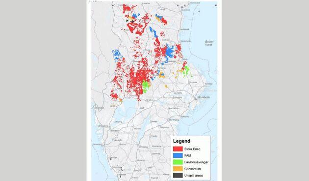 Nya Kopparfors kommer förvalta runt 285 000 hektar mark, varav 240 000 produktiv skogsmark. På kartan syns områdena i blått som del av den mark som ingått i Bergvik Väst.