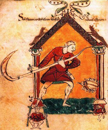 Avbildning av lie från 850-talet.
