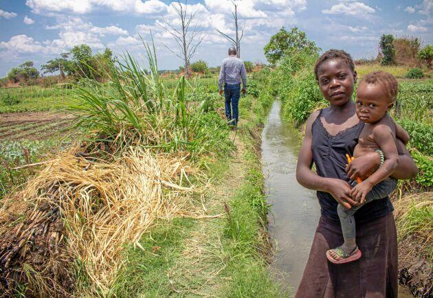Natasha och lilla Miriam är några av de många zambier som bor och brukar jorden i de starkt tungmetallförorenade jordbruksområdena i Copperbeltområdet.