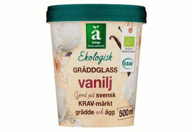 Coops ekologiska vaniljglass innehåller svensk grädde.