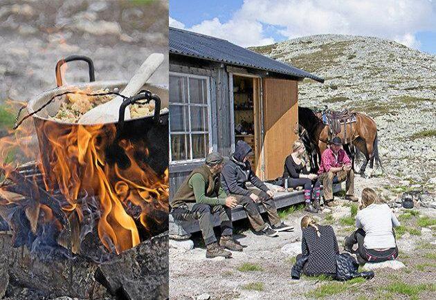 Gruppen pustar ut vid jaktstugan som Johan Persson använder under höstarnas ripjakter. Den ligger strax under Oxsjövålens topp. Lunchen, som fraktats upp i sadelväskor, lagas över öppen eld.