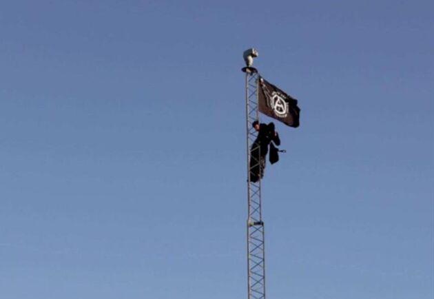 En av djurrättsaktivisterna klättrade upp i gårdens höga mast för att sätta upp en flagga.
