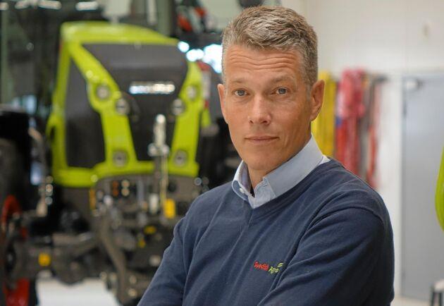 Björn Pettersson, VD på Swedish Agro Machinery, berättar att företaget inför en garanti på begagnade Claas-traktorer.