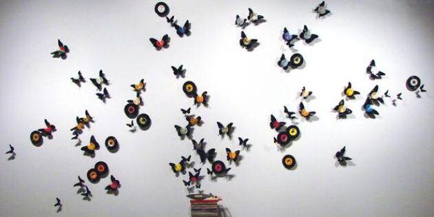 Musikaliska fjärilar av vinylskivor