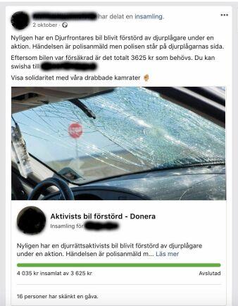 På Facebook samlade djurrättsaktivisterna in mer pengar än de hade begärt för den skadade bilen. Men bilden ljuger. Foto: Skärmdump