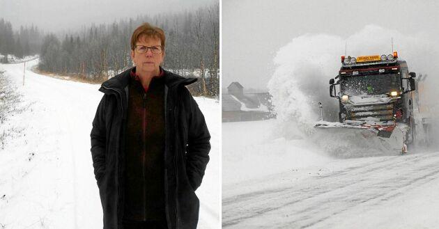 Inga-Lill Örjegren, ordförande i Kanaans vägförening i Vilhelmina, är besviken på myndigheterna vad gäller snöröjning av enskild väg.