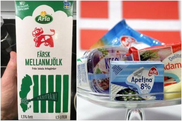 Härifrån kommer mjölken, betonar Arla. Men allt fler Arlavaror i Sverige har danskt ursprung.