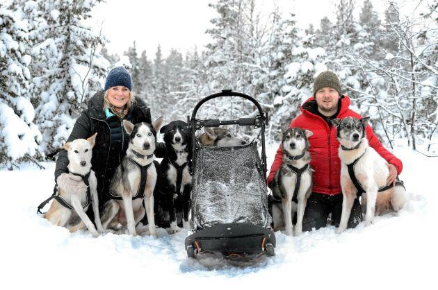 Slädhundskörning är Emelies och Andreas passion och de försöker ge sig ut så ofta de kan med sina hundar.