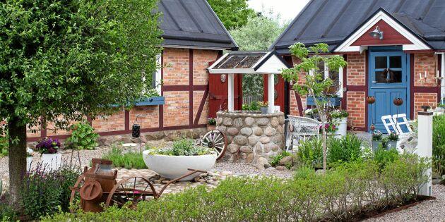 Vilken skaparglädje! Trine har fyllt trädgården med sten och loppisfynd