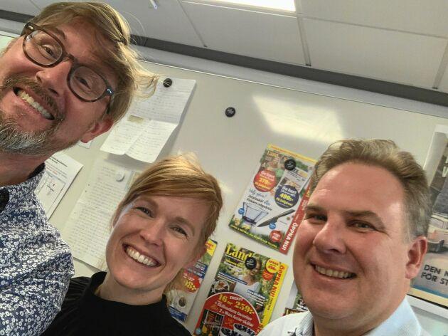 Poddglädje! Ödehus-entusiasterna Robert Danielsson och Sara Thyselius flankeras av Landpoddens Joel Linderoth. Lyssna gärna!