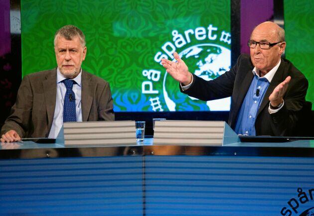 """""""På spåret"""" 2008 med domare Björn Hellberg och programledare Ingvar Oldsberg."""