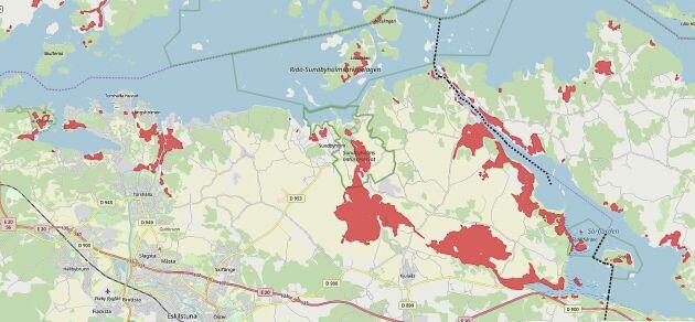 Kartan visar en liten del av de områden runt Mälaren som påverkas av Slussenbeslutet.