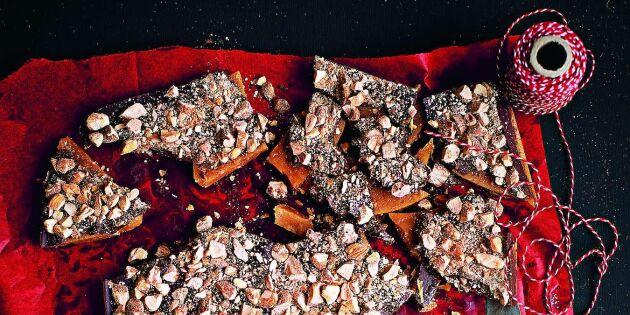 Supergod knäck med mandelchoklad
