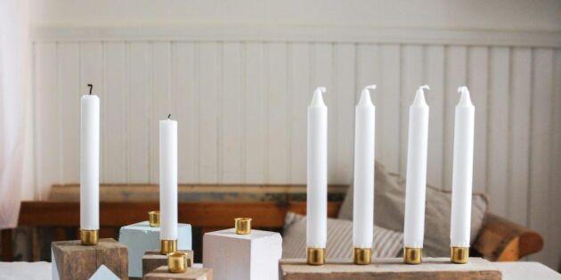Gör Johanna i Kullas underbara adventsljusstakar av trästumpar