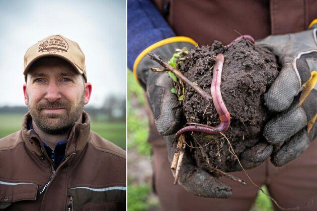 """Mellangrödor, rötter och skörderester ger mat åt mikroorganismer och maskar. Det håller jorden mera levande, ger bärighet och bättre vattenavrinning. """"Infiltrationen har vi sett väldigt tydlig skillnad på den här vintern"""", säger Martin Krokstorp."""