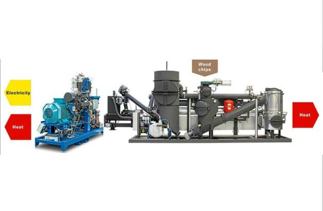 Förgasningsanläggningen består av gasverket och en motor.